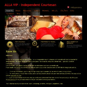 Alla VIP - Independent Courtesan escort Moscow